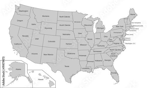 Usa Karte In Grau Einzeln Kaufen Sie Diese Vektorgrafik Und