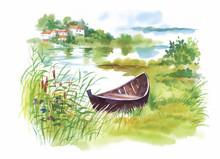 Watercolor Rural Landscape Wit...