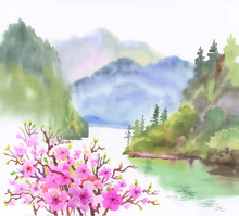 Watercolor Landscape Of River With Flowers