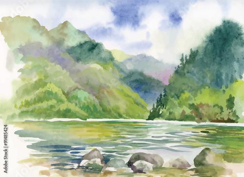 Foto op Canvas Pistache Watercolor summer river landscape