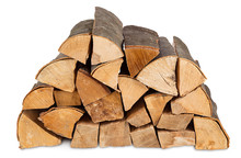 Fire Wood Stack Isolated On White Background