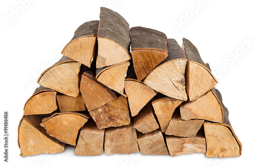Fotografia  fire wood stack isolated on white background