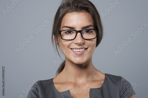 .Portrait of charming young businesswoman
