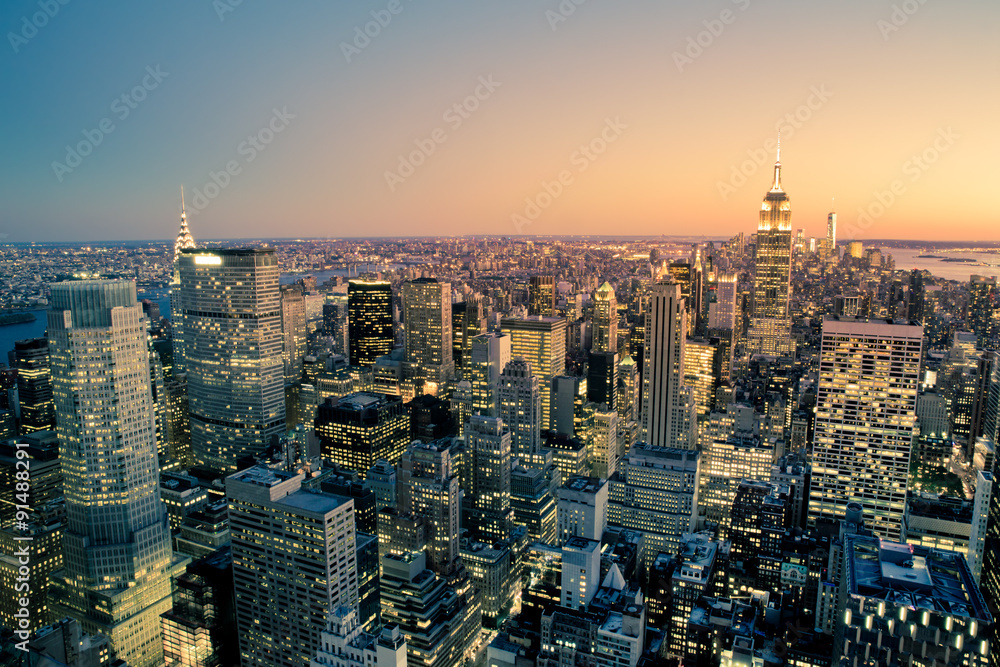 Fototapety, obrazy: Manhattan New York City Cityscape skyline at dusk