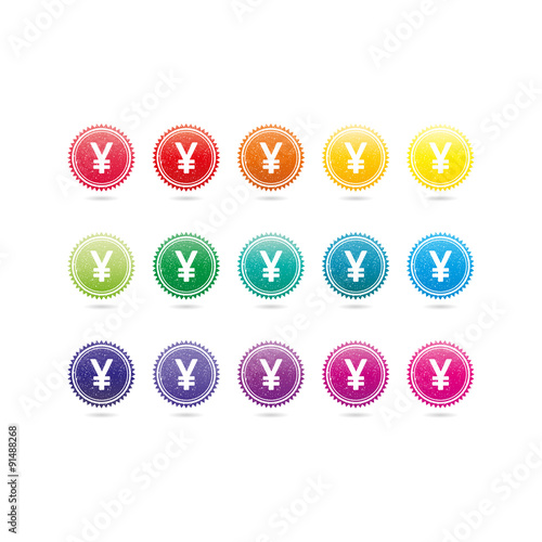 Chinese Yuan Japanese Yen Currency Grunge Symbols Colorful Hipster