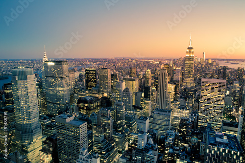 Obraz Manhattan New York City Cityscape skyline at dusk - fototapety do salonu