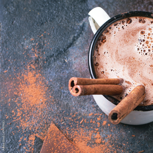 Foto op Canvas Chocolade Hot chocolate with cinnamon