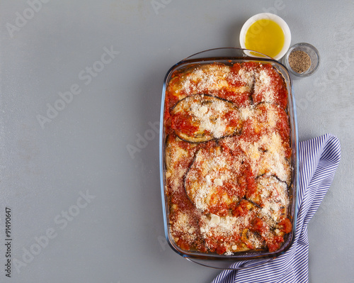 eggplant parmesan with cheese and olive oil. vegetarian cuisine Canvas Print