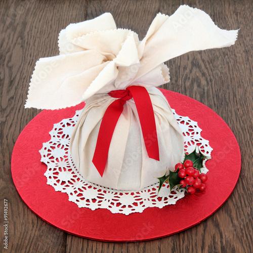 Fotografie, Obraz  Christmas Pudding in Muslin Bag