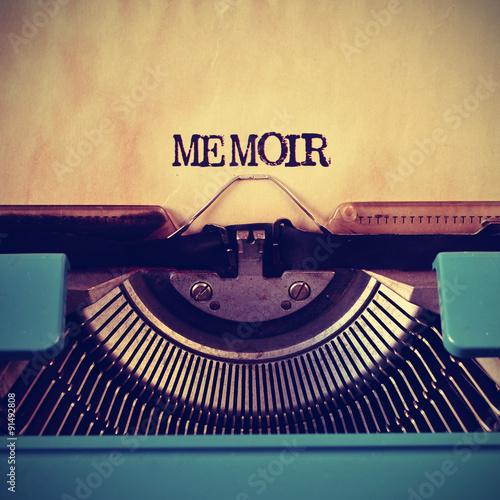 retro typewriter and word memoir written with it Canvas Print