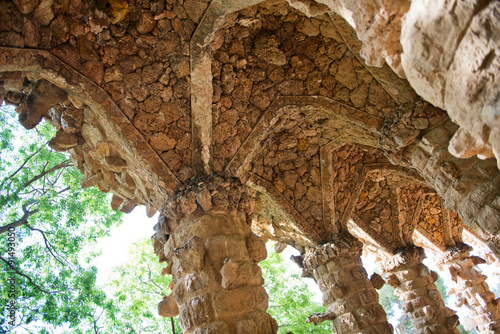 Picturesque stone pillar at Parc Guell, Barcelona #91493050