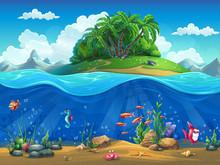 Cartoon Underwater World With ...