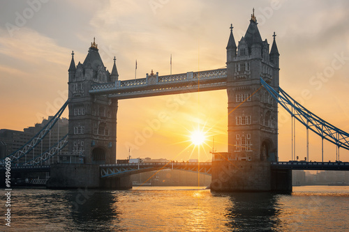 View of famous Tower Bridge at sunrise Canvas Print
