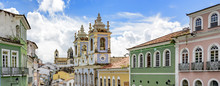 Facades Of The Old Houses And Townhouses And Towers Of Historic Churches In Pelourinho Neighborhood In Salvador, Bahia