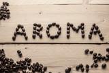 Scritta aroma co chicchi di caffè