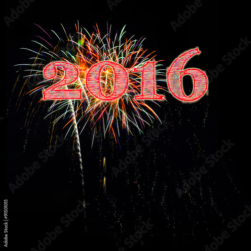Fireworks Happy New Year 2016 against a night sky black background with stars co Poster