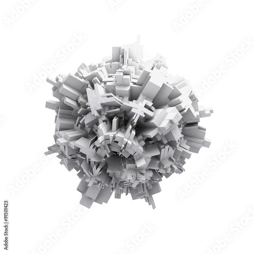 Fotografia  Abstract white digital 3d spheric object isolated