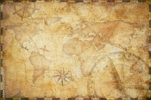Spoed Fotobehang Wereldkaart old nautical treasure map background