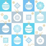 White background, Christmas decorations, snowflakes, blue, seamless pattern.