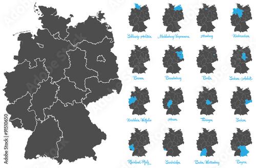 Obraz Deutschland Karte mit Bundesländern Vektor Set - fototapety do salonu