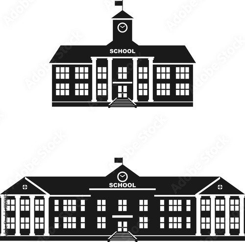 Set of silhouettes classical school building isolated on white Fototapeta
