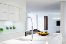 White Kitchen With Color Details