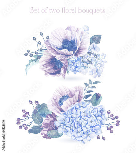 Printed kitchen splashbacks Watercolor skull Set of watercolor floral bouquets for design. Illustration of purple poppies and hydrangeas. Monochrome color. Watercolor flowers.