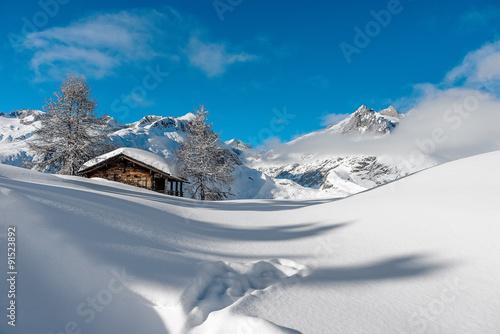 Fotografie, Obraz  Hütte in den Schweizer Alpen 2