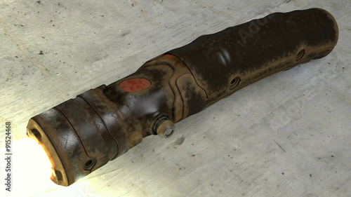 Photo Worn and Rusty Vintage Lightsaber
