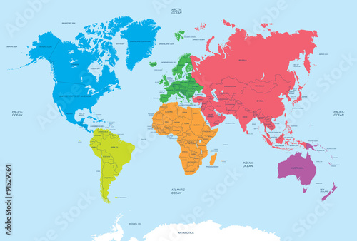 Continents of the World and political Map Plakát