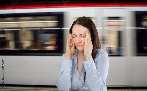 headache at the subway station Canvas Print