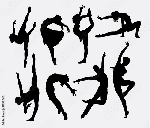 Fotografie, Obraz  Dancer male and female silhouettes