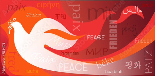 Foto  Dove on flames background and word Peace in different languages
