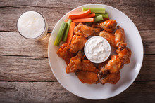 American Fast Food: Buffalo Wings And Beer Horizontal Top View