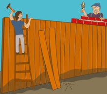 Two Neighbors In War Are Building Two Different Fences On Their Ground.
