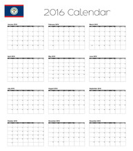 2016 Calendar With The Flag Of...