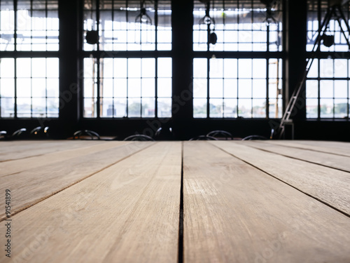 Staande foto Industrial geb. Table top counter bar with Interior Industrial Loft space background