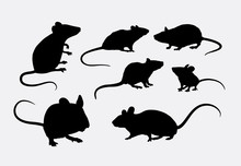 Rat And Mice Silhouettes. Good Use For Logo, Web Icons, Symbol, Or Any Design You Want.