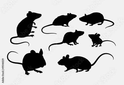 Rat and mice silhouettes Wallpaper Mural