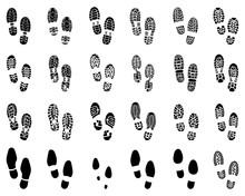 Black Prints Of Shoes, Vector Illustration