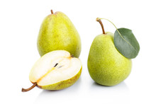 Two And A Half Green Pears Over White Background