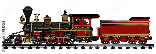Old red american steam locomotive / Hand drawing, vector illustration