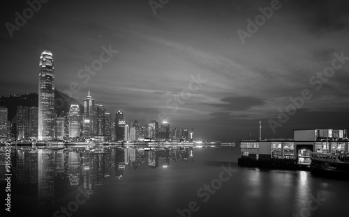 Fototapety, obrazy: Hong Kong cityscape black and white Tone