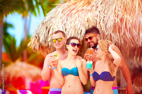 Group Of Happy Friends Having Fun On Tropical Beach Summer Holiday Party