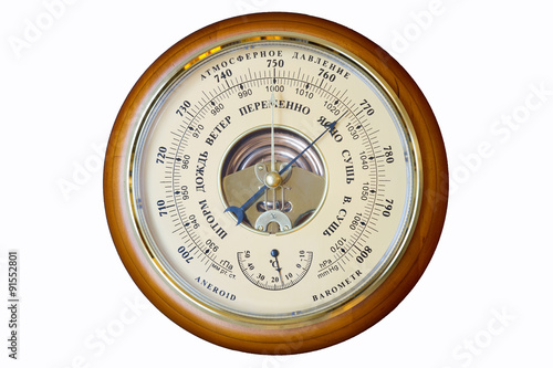 aneroid barometer, instrument for measuring atmospheric pressure acting without the aid of liquid Wallpaper Mural