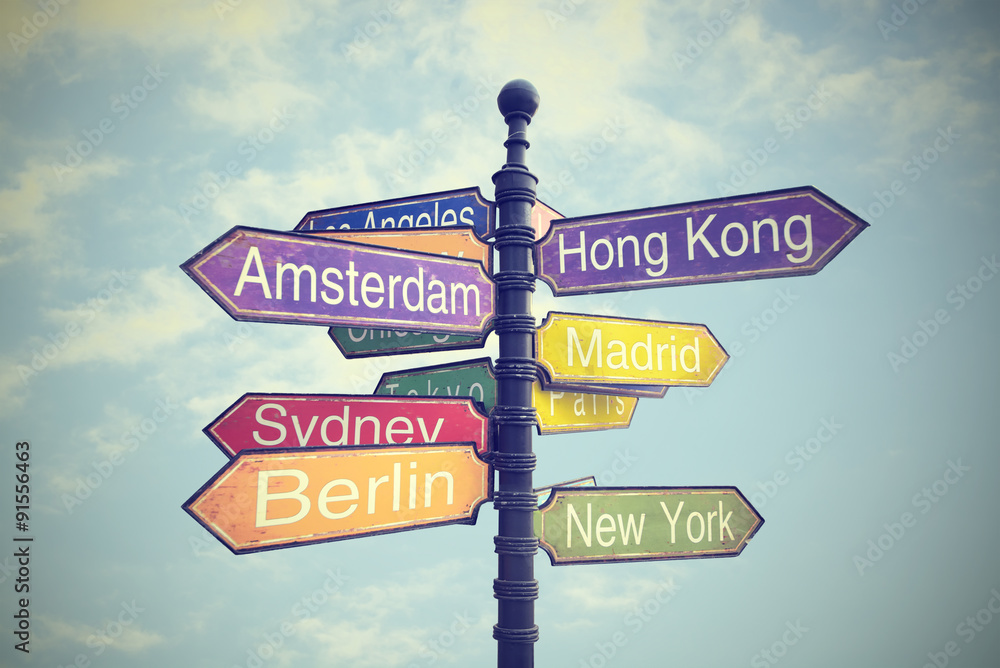 Fototapety, obrazy: Directional City Signs