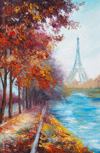 Obraz Oil painting of Eiffel Tower, France, autumn landscape - fototapety do salonu
