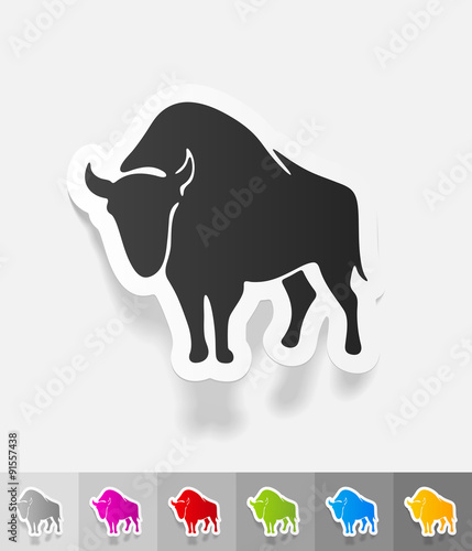 Photo  realistic design element. aurochs