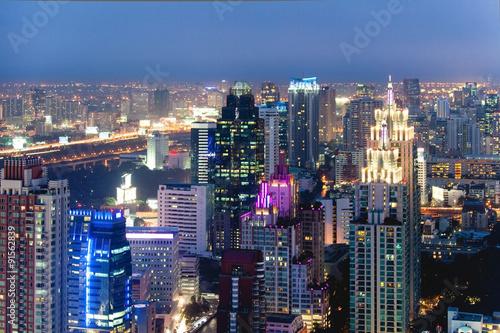 Poster Tokyo Top view business area,bangkoktwilight sky