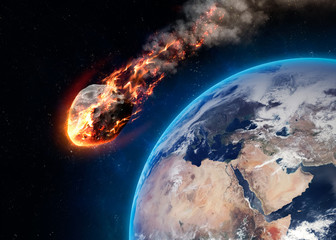 Meteor glowing as it enters the Earth's atmosphere
